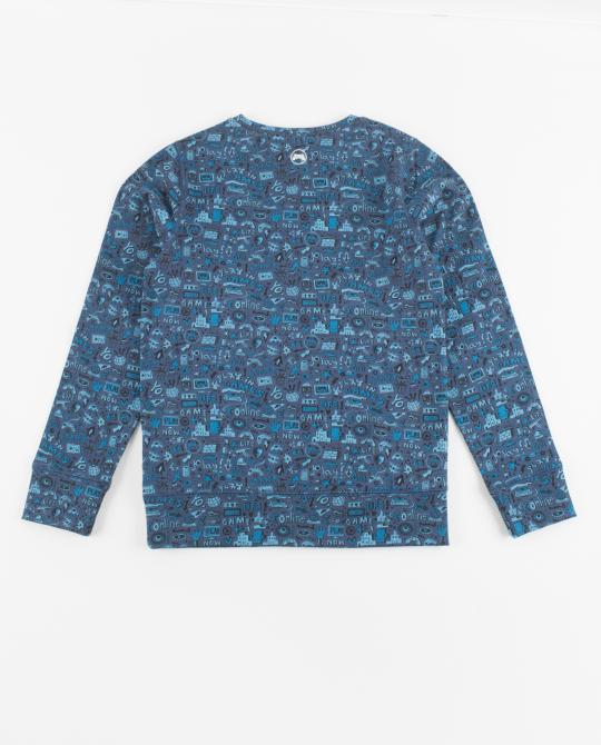 indigo-sweater-met-comic-print