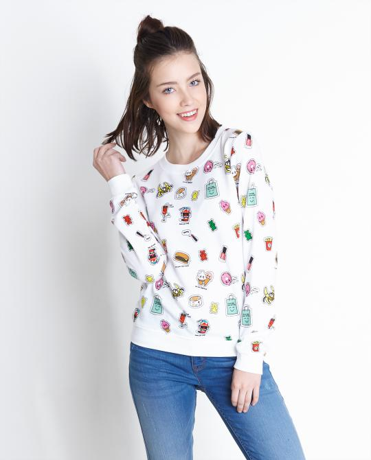 witte-sweater-met-allover-print