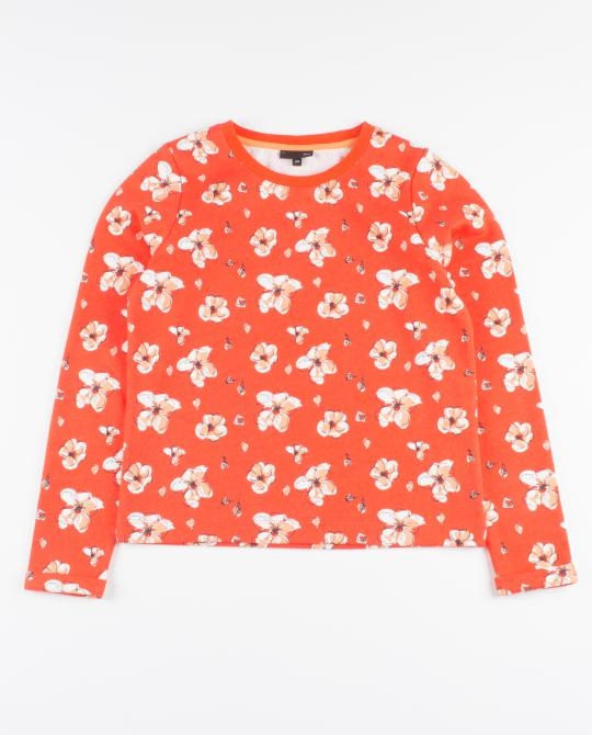 rode-sweater-met-bloemenprint