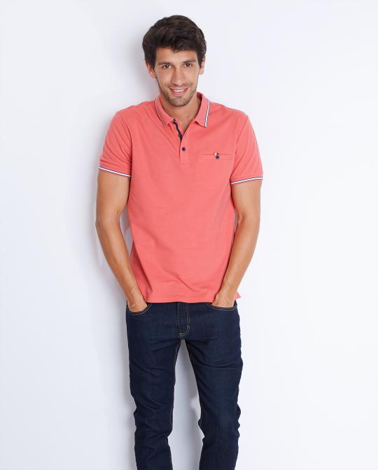 polo-orange-corail-slim-fit