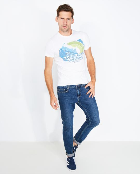 wit-t-shirt-met-print-slim-fit