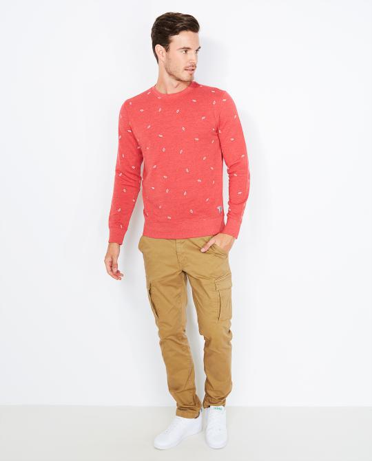rode-sweater-met-bladerprint