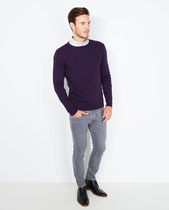 pull-mauve-uni-slim-fit